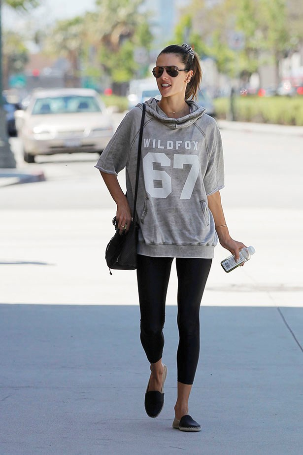 Alessandra Ambrosio keeps it relaxed in a sweatshirt (and maybe a scrunchie in her hair?)