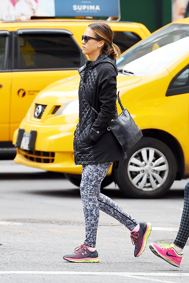 Why wear black tights when you can wear super fun ones like Jessica Alba?