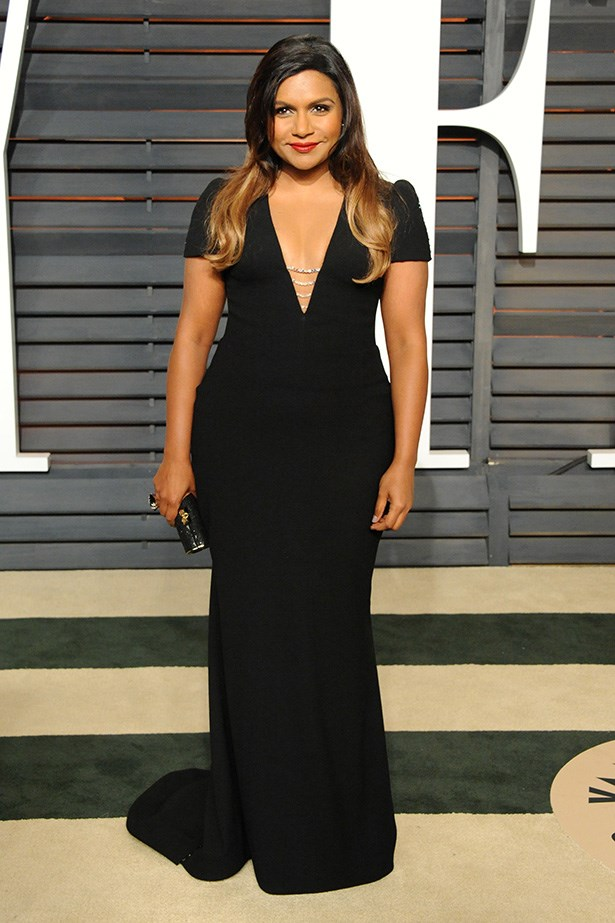 A black dress is a change for Mindy, and we really dig it.
