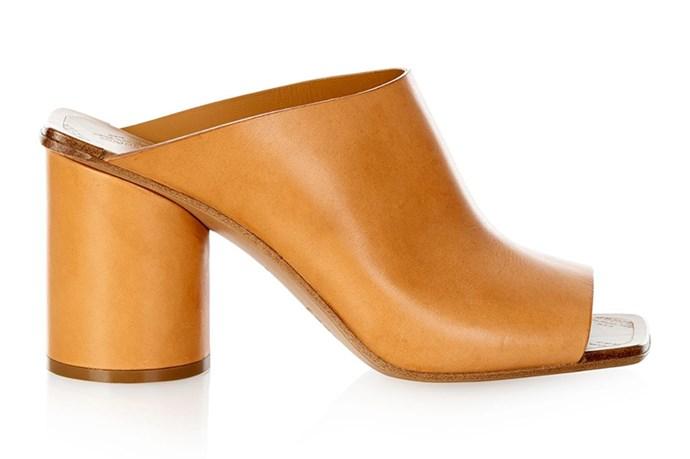 "Maison Margiela vegetable-leather mules, <a href=""http://www.matchesfashion.com/au/products/Maison-Margiela-Vegetable-leather-mules-1012737"">Matches</a>"