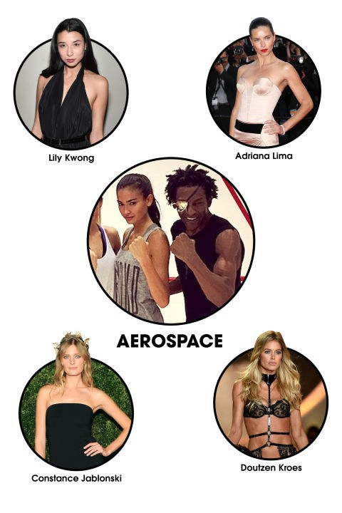 """AEROSPACE The Workout: After working one-on-one with the likes of Iman, Linda Evanagelista, and Eva Mendes, former boxing champion Michael Olajide now throws punches with some of the hottest bodies in the modeling biz at his airy Chelsea gym in New York City, co-owned by former ballerina Leila Fazel. The goal? To """"sleekify"""" muscles with a unique (and very tough) full-body workout that integrates circuit-training, boxing, and jump-roping. Celeb Devotees: Kelly Gale, Constance Jablonski, Doutzen Kroes, Adriana Lima, Lily Kwong, Sebastian Stan."""