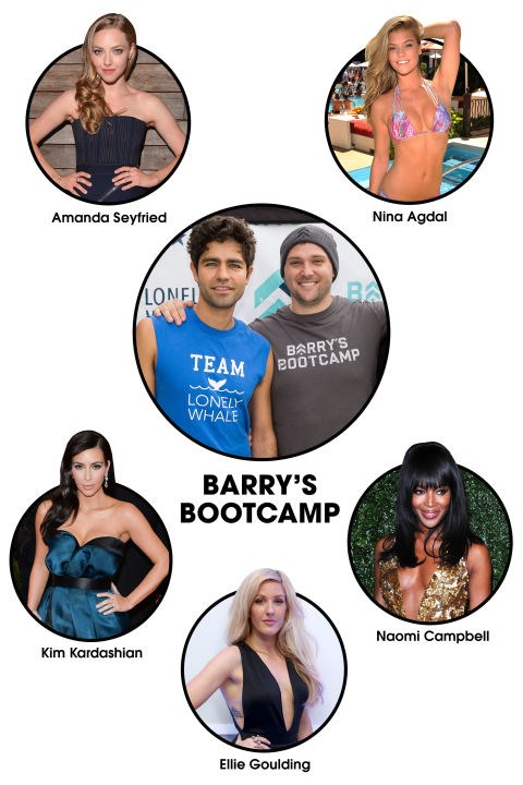 "BARRY'S BOOTCAMP The workout: It's definitely gotten some airtime on <em>Keeping Up with the Kardashians</em>, but Kim et al aren't the only ones who head to <a href=""https://www.barrysbootcamp.com/"" target=""_blank"">Barry's</a> for an intense, bootcamp-style workout. Naomi Campbell frequently tweets about the butt-kicking workouts, and Ellie Goulding and Adrian Grenier are so committed, they've both <a href=""http://www.dailymail.co.uk/tvshowbiz/article-2898753/So-s-does-Ellie-Goulding-reveals-toned-abs-Barry-s-Bootcamp-class-showing-bikini-body-beach-Miami-holiday.html"" target=""_blank"">led classes</a>.</p> Celeb devotees: Amanda Seyfried, Nina Agdal, Naomi Campbell, Adrian Grenier, Kim Kardashian, Ellie Goulding, Khloe Kardashian, Kourtney Kardashian, Jessica Biel, Sandra Bullock, Alicia Silverstone."