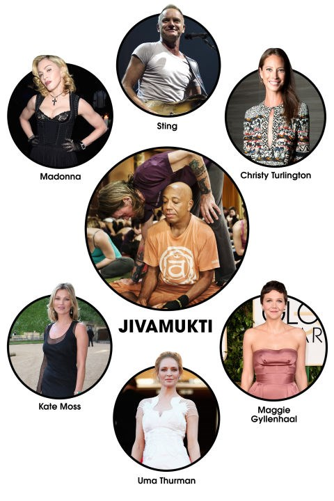 "JIVAMUKTI The workout: It's not all bootcamps and dance cardio: For those A-listers who crave some Zen, there's no better destination than <a href=""http://jivamuktiyoga.com/"" target=""_blank"">Jivamukti Yoga</a> in New York City. Sting, Russell Simmons, Christy Turlington, and Uma Thurman are all regulars. Celeb devotees: </strong>Madonna, Russell Simmons, Christy Turlington, Uma Thurman, Maggie Gyllenhaal, Kate Moss, Sting, Trudie Styler."