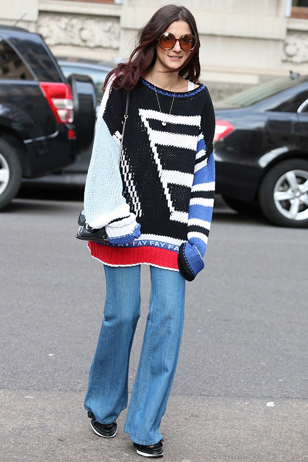 Go for over sized jumpers for a relaxed look, and play around with proportions.