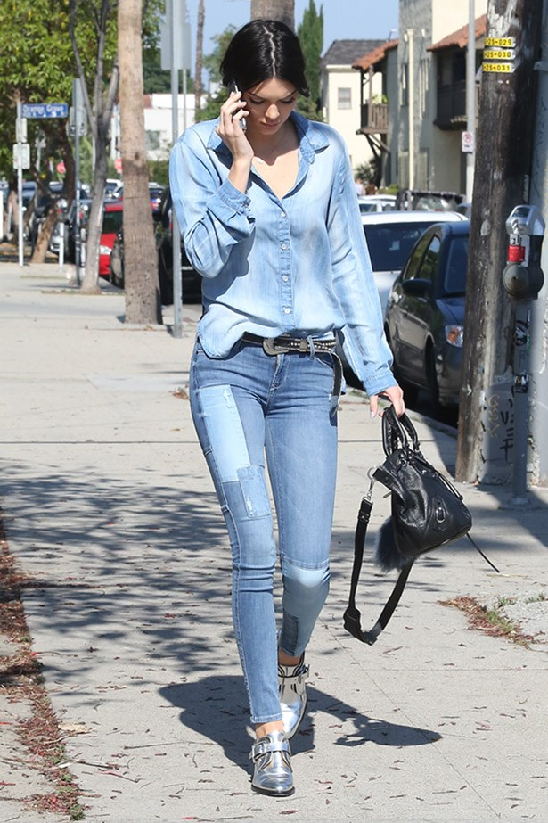 Erase all association of double denim with Justin Timberlake and Britney's Canadian tuxedos circa 2001 (but may they live on in on our hearts). Kendall Jenner has nailed easy breezy double denim with contrasting tones of blue, and patchwork jeans. The silver brogues keep the look cool. Because who doesn't love a casual silver brogue?