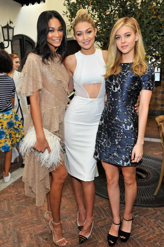 <strong>JANUARY 10, 2015</strong> <BR> With Chanel Iman and Nicola Peltz at Lynn Hirschberg Celebrates W's It Girls event at A.O.C in Los Angeles