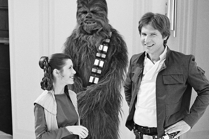 <strong><em>Star Wars Episode V: The Empire Strikes Back</strong></em><br> <strong>People:</strong> Carrie Fisher (23) and Harrison Ford (37)<br> <strong> Age gap:</strong> 14 years