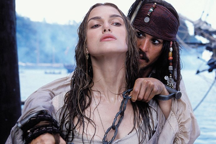 <strong><em>Pirates of the Caribbean</strong></em><br> <strong>People:</strong> Keira Knightley (21) and Johnny Depp (43)<br> <strong> Age gap:</strong> 22 years