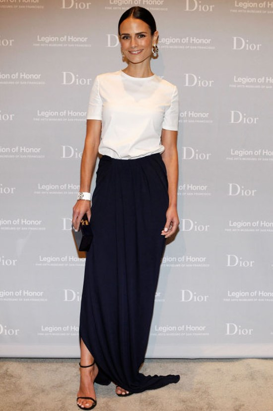 <strong>JORDANA BREWSTER</strong> <BR> Showcasing the beauty of minimalism, Brewster pairs her sleek white topper with a long, navy column skirt. It's a red carpet-worthy look that could just as easily translate to the office.