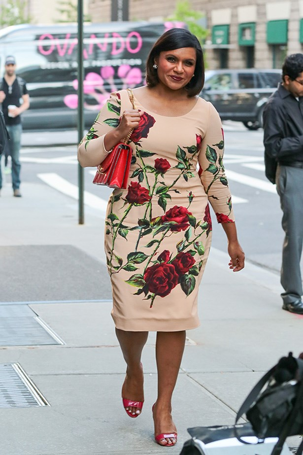 "While we love people that have really nailed their personal aesthetic and never veer from it, the best fun are the people who change their minds all the time about what they want to wear, and who they want to be. Take Mindy Kaling, who like her alter-ego Mindy Lahiri, totally loves fashion and trying on heaps of different styles. Kaling recently told The View, ""I'll meet some cool actress who only wears Helmut Lang and Vince, and I'm like, 'Ugh! That looks amazing and chic and everything coordinates with everything, and I need to get, like, a ratty T-Shirt,'"" she explained. ""I love fashion and I love clothes. I read up on what Naomi Watts and all these people are wearing."" So we love Mindy's ladylike look today, and maybe we love it even more because tomorrow she'll be like a punk rocker or something."