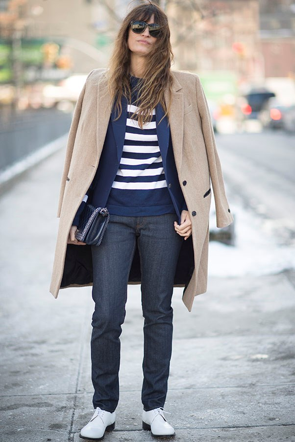 Caroline De Maigret wears stripes in Paris (of course).