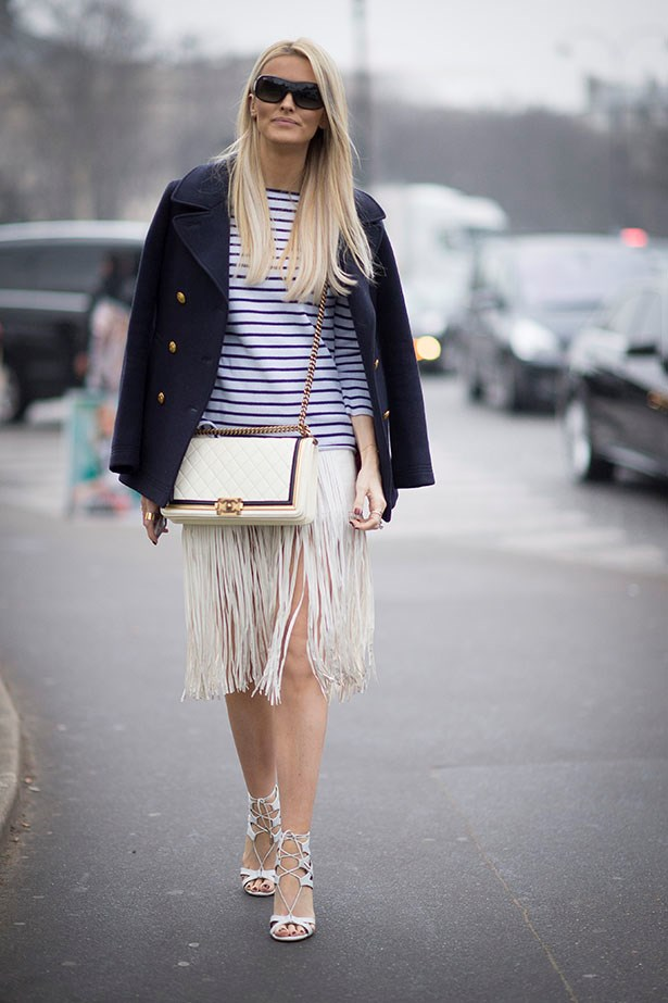 Stripes and a navy brass buttoned blazer will always like each other.