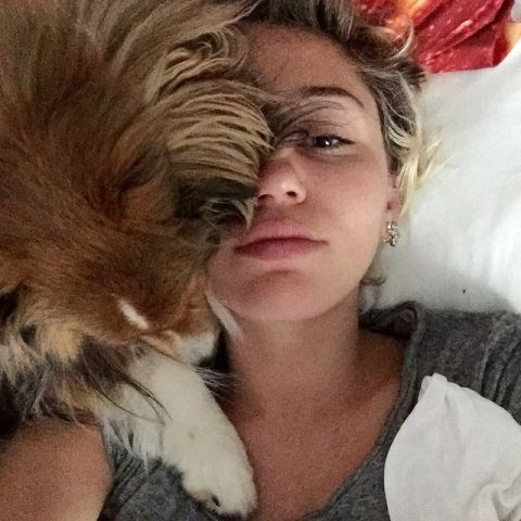 """<strong>MILEY CYRUS</strong> <BR> Today's been hectic. <BR> —<a href=""""https://instagram.com/p/319TmlwzD4/"""">@mileycyrus</a>"""