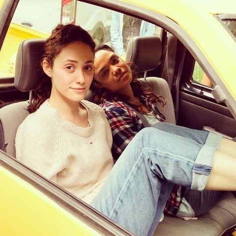 """<strong>EMMY ROSSUM</strong> <BR> Exhausted (me) and sultry (@tessamaethompson) after an intense day on #littlewoods with director @niafromthecoast <BR> —<a href=""""https://instagram.com/p/3zudz4o9SJ/"""">@emmyrossum</a>"""