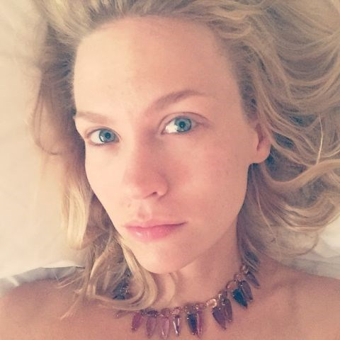 """<strong>JANUARY JONES</strong> <BR> It's always fun to wake up with your jewels on. Prickly but fun. Makes you feel serious. @ireneneuwirth I can't figure out how to take the fucker off. It's pretty serious about wanting to keep me. <BR> —<a href=""""https://instagram.com/p/3bZZlmCtBF/"""">@januaryjones</a>"""