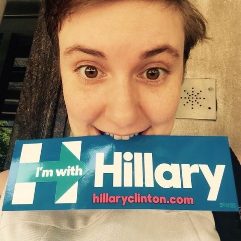 """<strong>LENA DUNHAM</strong> <BR> Had the pleasure of visiting campaign headquarters in my very own Brooklyn! Didn't find the grande dame herself but this bumper sticker is pretty dope... Getting excited. <BR> —<a href=""""https://instagram.com/p/3RPMyJC1H1/"""">@lenadunham</a>"""