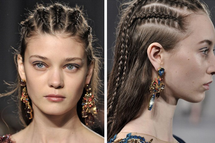 <strong>Marchesa AW '14</strong> <br> <br> Hairstylist Mark Hampton sent models down the runway at the Marchesa AW '14 show wearing tough-girl-meets-uptown-princess cornrows.