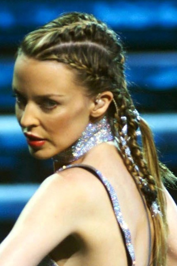 <strong>Kylie Minogue</strong> <br> <br> Our girl sported chunky cornrows on stage during her 2002 <em>Fever </em>tour.
