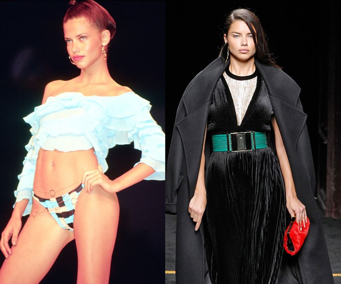ADRIANA LIMA <p>Walking the Rygy show at Sao Paolo Fashion Week in January 2000, and at the Balmain Fall/Winter 2015 presentation earlier this year.</p> <p>Few models have straddled the line between commercial and high fashion as expertly as Adriana Lima. After debuting at an Anna Sui show during New York Fashion Week in 1997 (at just 16 years old), Lima signed with Victoria's Secret in 1999 and had her first major runway season the next year.</p>