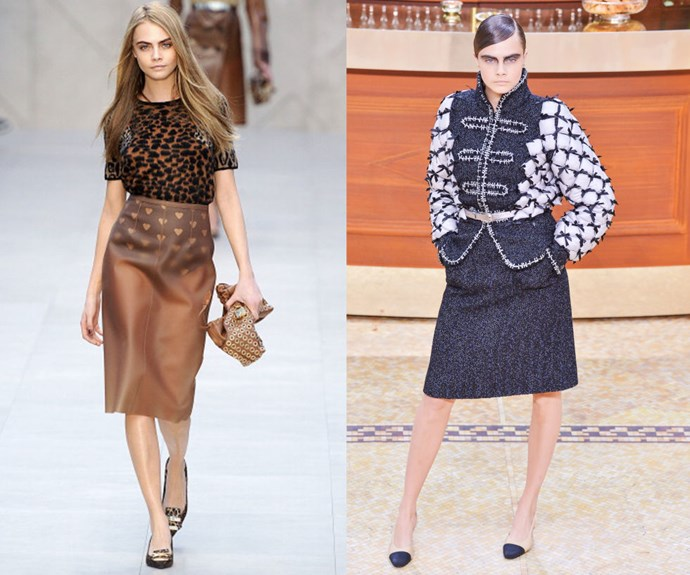 CARA DELEVINGNE <p>At the Burberry Prorsum Fall/Winter 2013 presentation, and the Chanel Fall/Winter 2015 show earlier this year.</p> <p>She may already be swapping modeling for acting, but Cara's two-year catwalk career was explosive enough to launch her to mono-name status (thanks in part, of course, to those Brows). Given her close friendship with Karl Lagerfeld, however, we wouldn't be surprised to see her take a few more spins on the Chanel runway. </p>