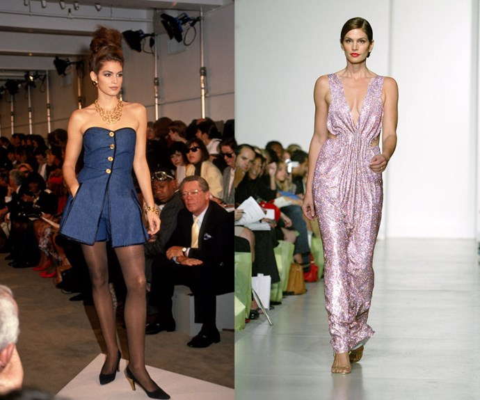 "CINDY CRAWFORD <p>In 1990 at the Donna Karan Spring/Summer 1991 show, and walking the Esteban Cortezar Spring/Summer 2004 presentation in 2003.</p> <p>You can't hear the word ""supermodel"" without immediately thinking of Crawford, who first got started in the late '80s. But it looks like her doppelganger daughter, Kaia, might be next up for the fam in the modeling biz.</p>"