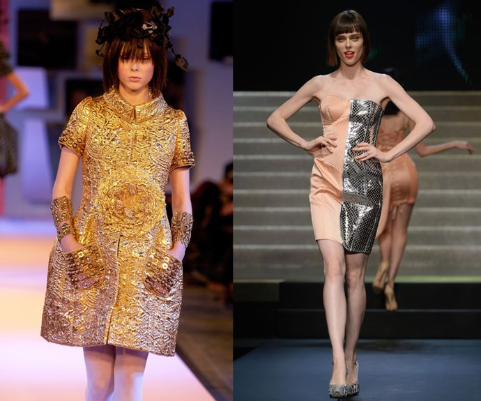 "COCO ROCHA <p>At the Christian Lacroix Spring/Summer 2007 haute couture presentation in 2006, and walking the Jean-Paul Gaultier Spring/Summer 2014 show in 2013.</p> <p>We should have known Rocha was destined for greatness when, at 17 years old, she graced the catwalk for the first time by opening Christian Lacroix's haute couture show. Now famous for a classic and dramatic approach to walking and posing, Rocha added ""Mom"" to her resume this year when she gave birth to a little girl, Ioni, in March.</p>"