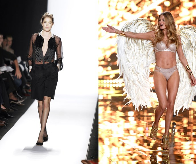 DOUTZEN KROES <p>At the Oscar de la Renta Fall/Winter 2005 presentation, and the Victoria's Secret Fashion Show late last year.</p> <p>It usually takes Victoria's Secret Angels some time to earn their wings, but Kroes signed with the brand in late 2004 immediately after moving to New York City from Holland at 19. She made her runway debut during the Fall/Winter 2005 season a few months later.</p>