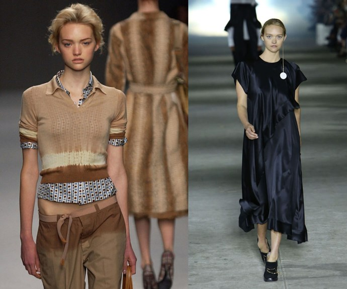 "GEMMA WARD <p>Walking the Prada Spring/Summer 2004 show, and the Ellery Fall/Winter 2015 runway earlier this year.</p> <p>""Doll-like"" was the look of the mid-aughts, and Ward led the movement after bursting on the scene in 2003. At just 15 years old, she scored a Prada runway exclusive and then a coveted place in their campaign.</p>"