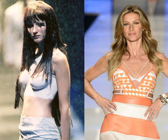 GISELE BÜNDCHEN <p>At the Alexander McQueen Spring/Summer 1998 presentation in 1997, and the final catwalk of her career, at Colcci during Sao Paolo Fashion Week in April.</p> <p>Gisele officially called it quits on her long and very lucrative career this past spring—not long after Forbes estimated that the model was earning up to $128,000 a day. (We'd say she's set for retirement, no?) But back in 1997, a then-17-year-old Bündchen got her big break when she landed a coveted spot in one of Alexander McQueen's theatrical runway presentations. Three years later, she signed with Victoria's Secret, and the rest is history.</p>