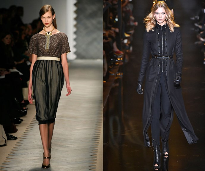 KARLIE KLOSS <p>Walking the 3.1 Phillip Lim Fall/Winter 2008 show, and at the Elie Saab Fall/Winter 2015 show earlier this year.</p> <p>At only 22, it's hard to believe that Karlie Kloss has such an illustrious career under her belt. Then again, she was just 15 when she walked 31 shows during during the Fall/Winter 2008 season—an incredible debut that in retrospect predicted the fame that was to come. Now, aside from the occasional big-name catwalk, her duties as a Victoria's Secret Angel and plans to attend NYU in the fall keep her pretty busy—as does her friendship with Taylor Swift.</p>