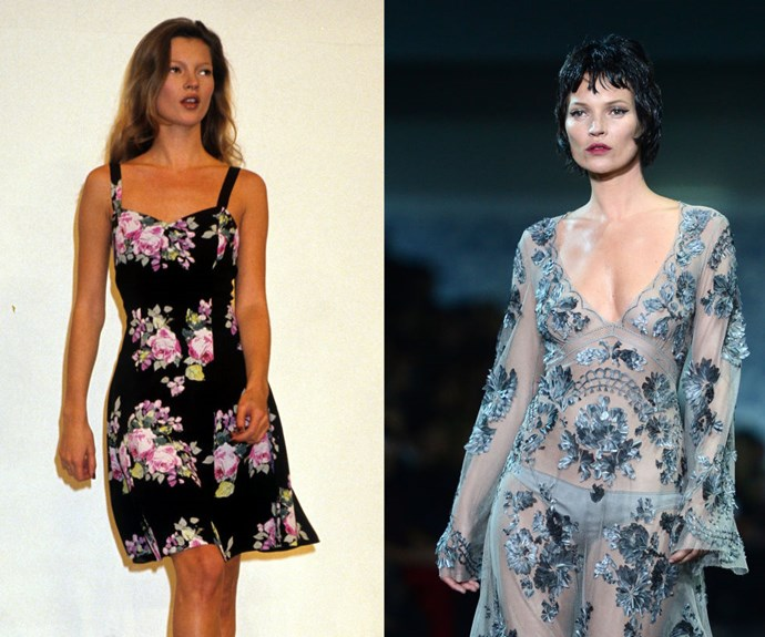 KATE MOSS <p>At a Ralph Lauren presentation in 1993, and the Louis Vuitton Fall/Winter 2013 show.</p> <p>After a now-iconic photoshoot with Corinne Day for The Face put her on the map at 16 years old, a very sexy campaign with Calvin Klein 'Obsession' made Moss the face of heroin-chic in the early '90s. (This video captures a behind-the-scenes look at one of her very first shows with John Galliano in 1990.) 25 years later, she still makes a runway appearance on occasion—often for good friend Marc Jacobs, as with his final collection for Louis Vuitton in 2013, shown above.</p>