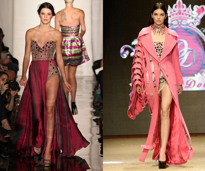 "KENDALL JENNER <p>In 2011 at the Sherri Hill Spring/Summer 2012 presentation, and walking for Dosso Dossi in June in Turkey. </p> <p>It's very hard to ""keep up"" with Jenner's lightning-paced career these days. In addition to walking for every major label, she can now add contracts with Estée Lauder and Calvin Klein to her ever-growing resume.</p>"