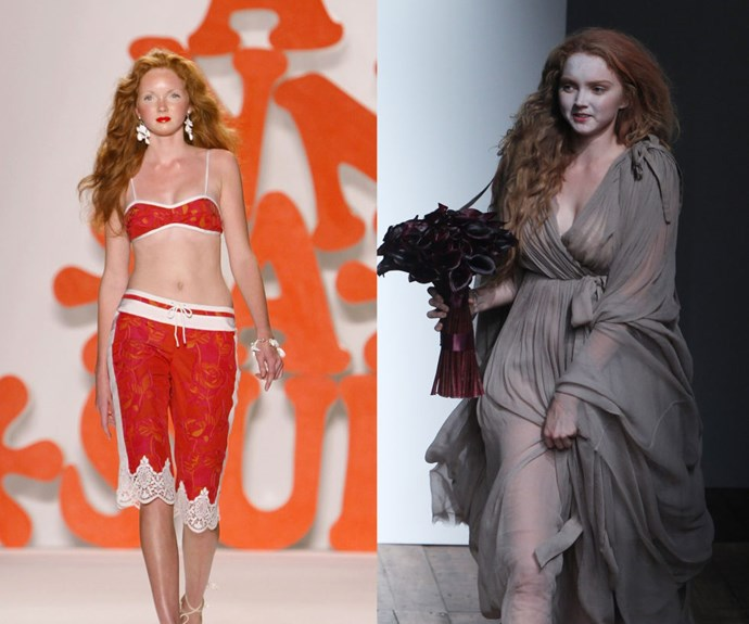 LILY COLE <p>In 2003 during Anna Sui's Spring/Summer 2004 presentation, and at the Vivienne Westwood Red Lapel Spring/Summer 2014 show in 2003. </p> <p>Just before Gemma Ward made her major debut, the similarly doll-faced Cole walked her first runway for Anna Sui at just 15 years old. </p>