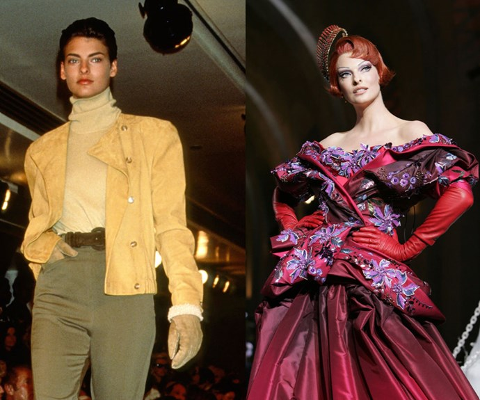 LINDA EVANGELISTA <p>Walking for Calvin Klein in 1989, and in Dior's Fall/Winter 2008 Haute Couture presentation.</p> <p>One of the most iconic names of the original supermodel era, Evangelista launched her career at age 19 in 1984. Nowadays, she doesn't frequent the runway too often, except for occasional cameos like this Dior couture show in 2008.</p>