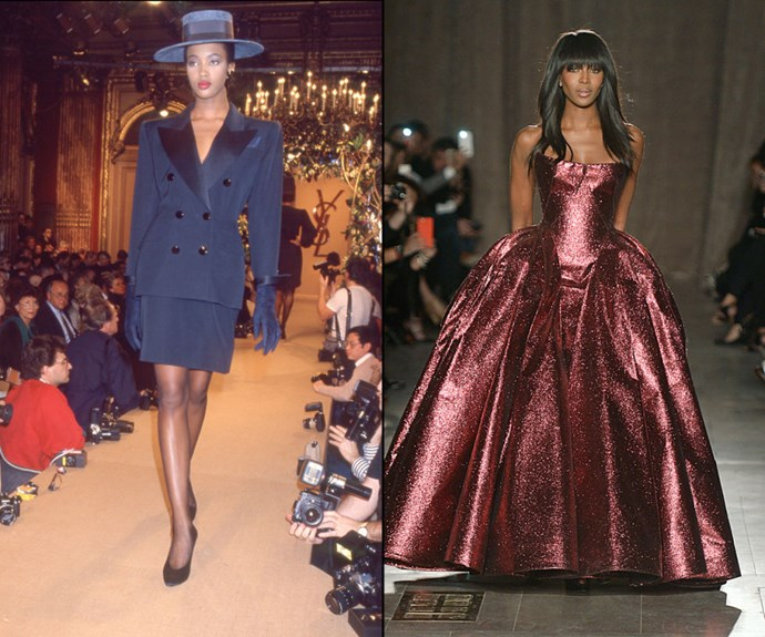 NAOMI CAMPBELL <p>At the Yves Saint Laurent Spring/Summer 1988 presentation in 1987, and closing the Zac Posen Fall/Winter 2015 show earlier this year.</p> <p>Her now decades-long career hit octane levels in 1987 (when she was just 17), but like good friend Kate Moss, Campbell is one of the few original supermodels who still makes cameo appearances fairly frequently. Her latest: Closing Zac Posen's latest presentation in a show-stopping burgundy gown.</p>