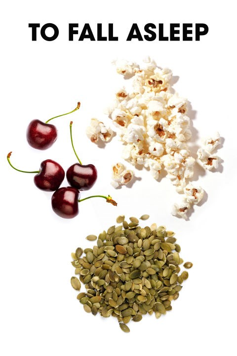 "Melatonin does help induce sleep to a moderate degree,"" says sleep specialist Steven Feinsilver, MD, which is why cherries, which are rich in melatonin, make such a good bedtime snack. According to nutritionist Dana James, MS, CNS, CDN, pumpkin seeds are also a great option. ""They're rich in magnesium which helps to induce a deeper sleep by relaxing the muscles in the body,"" she says."