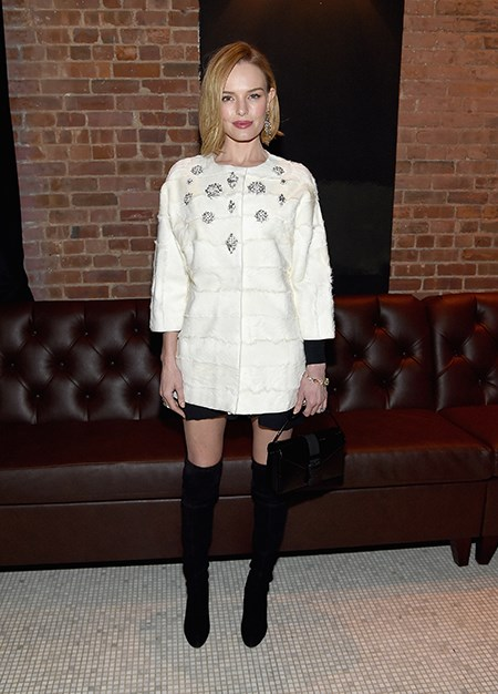 Thigh high boots? Check. Embellished coat? Check. Fresh bob? Check. Kate Bosworth nails it.