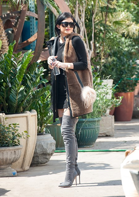 Who knew suede boots and a sleeveless fur coat could work so well? Kylie Jenner, obviously.