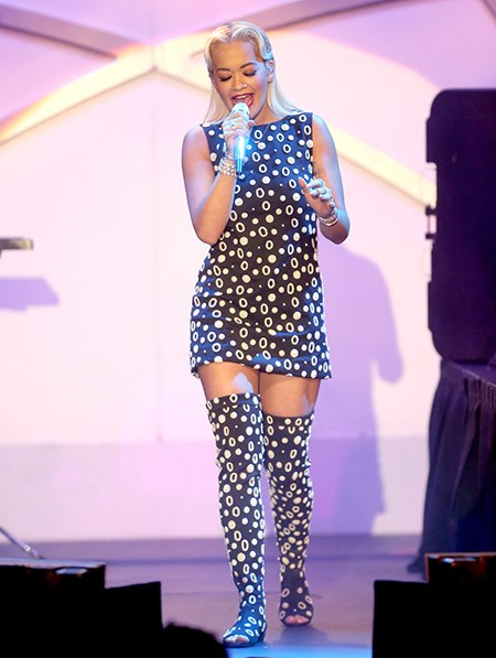 Go hard or go home: Rita Ora works an all-over print.