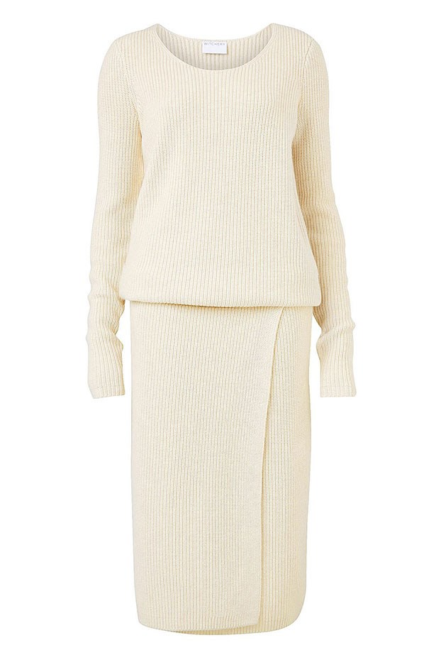 "Dress $229.95, Witchery, <a href=""http://www.witchery.com.au/shop/woman/clothing/first-edition/60180763/Grace-Knitted-Dress.html"">witchery.com.au </a>"
