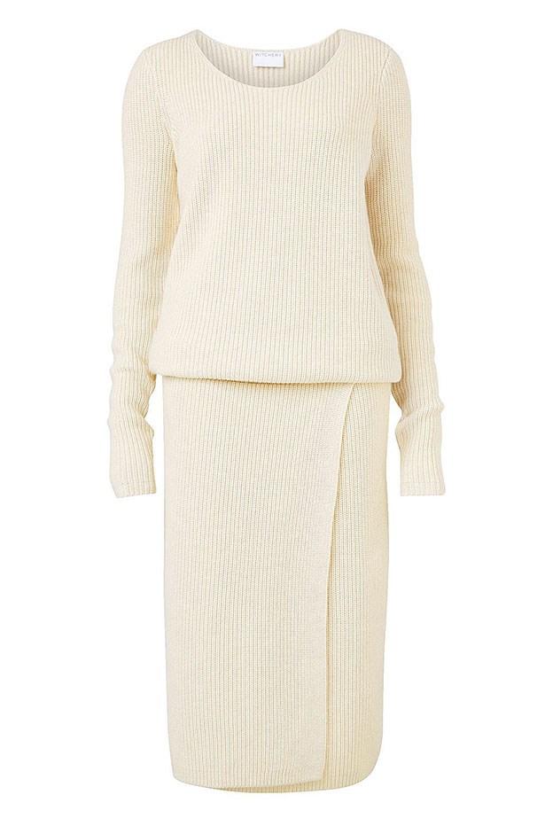 "Dress $229.95, Witchery, <a href=""http://www.witchery.com.au/shop/woman/clothing/first-edition/60180763/Grace-Knitted-Dress.html"">witchery.com.au </a>"