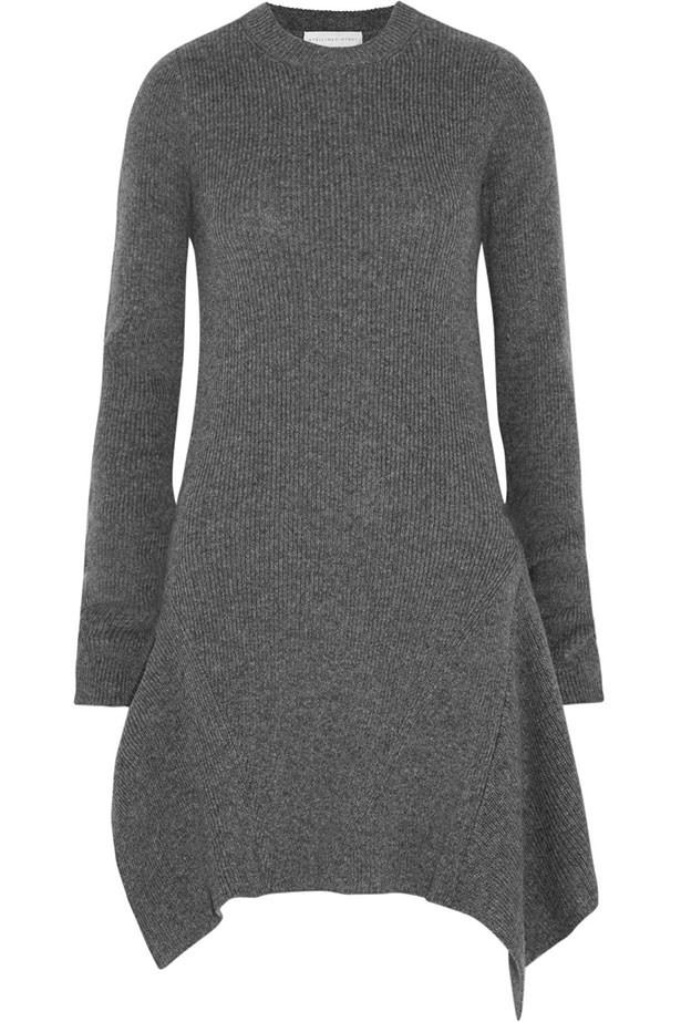 "Dress $1345, Stella McCartney, <a href=""http://www.net-a-porter.com/product/590528/Stella_McCartney/asymmetric-ribbed-wool-dress"">net-a-porter.com</a>"