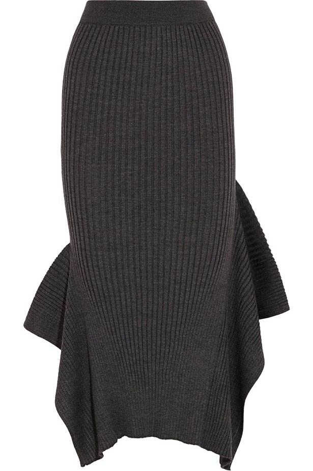 "Skirt $1216, Stella McCartney, <a href=""http://www.net-a-porter.com/product/590549/Stella_McCartney/ribbed-wool-and-silk-blend-midi-skirt"">net-a-porter.com</a>"