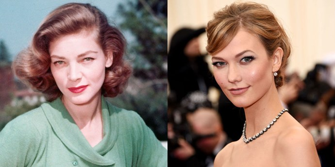 Lauren Bacall (1950) and Karlie Kloss