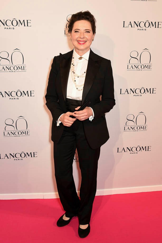 Isabella Rossellini attends Lancôme's 80th anniversary in Paris.