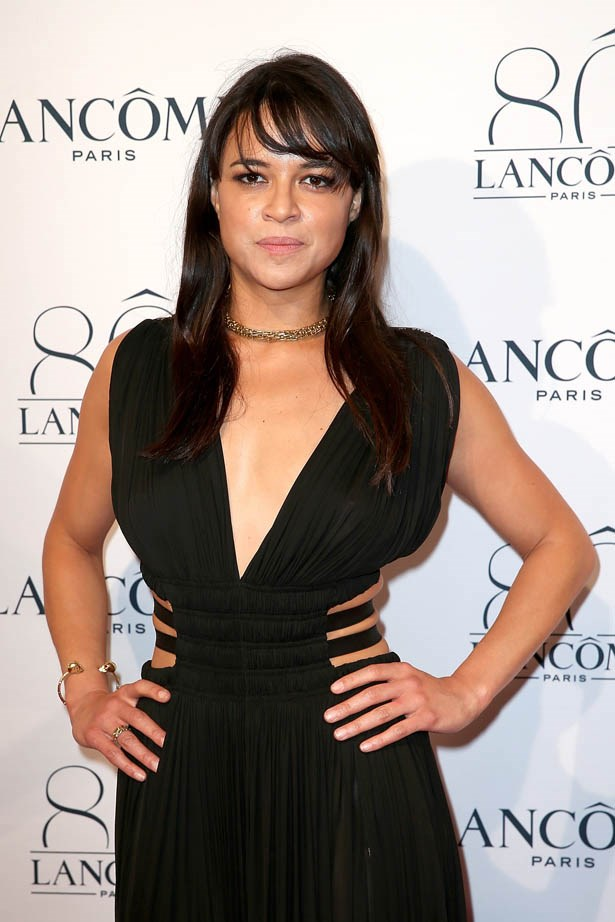 Michelle Rodriguez attends Lancôme's 80th anniversary in Paris.