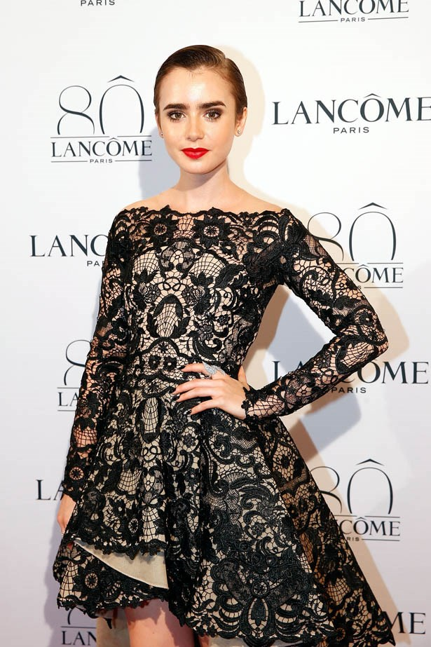 Lily Collins attends Lancôme's 80th anniversary in Paris.