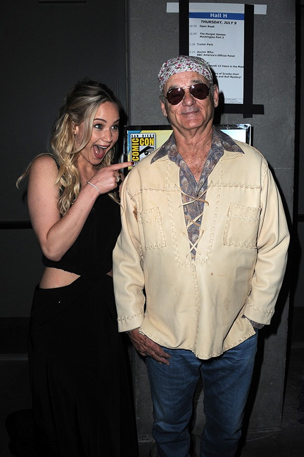 JLaw lost her mind when she met Bill Murray at Comic Con. Big Bill was all like, 'whaddyagonnado?'