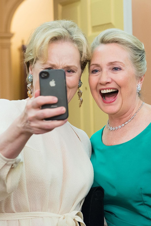We can't tell who's fangirling more here, Meryl Streep or Hillary Clinton. In any case, it is GLORIOUS.