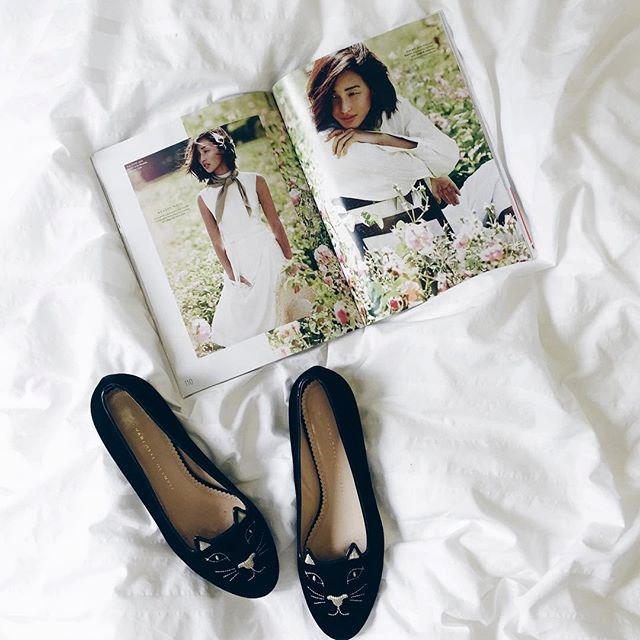 @twofortheshow: Reading the latest @elleaus issue featuring the gorgeous @garypeppergirl reminded me of my kitty flats- seen on Nicole many times! #twofortheshowblog #elle #charlotteolympia #nicolewarnexellecover